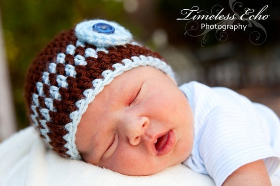 Baby boy hats - Crochet baby hat - Chocolate/Blue Baby Boy Beanie - CHOOSE YOUR SIZE - Newborn Photography props