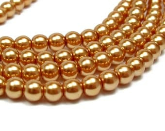 "15.5"" 4mm / 6mm / 8mm GOLD Round Glass Pearls round - PICK SIZE"