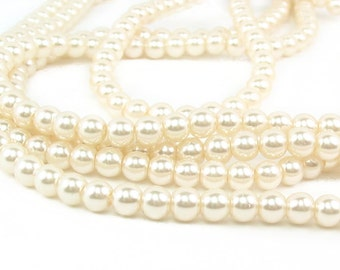 "15.5"" 4mm / 6mm Off White Round Glass Pearls small - full strand - PICK SIZE"