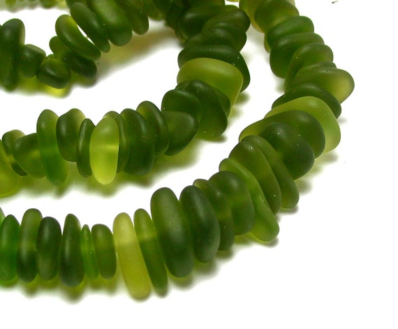 """reserved 2X ---- 8"""" LIME green dark PETITE 6mm 9mm chip pebble sea beach velvet glass beads frosted recycled"""