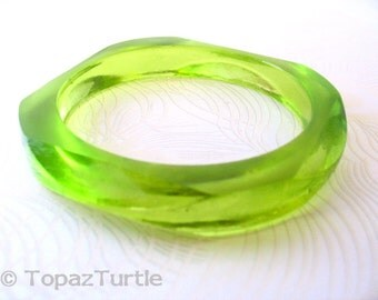 Bright chartreuse green resin bangle bracelet jewelry , diamond faceted women resin jewellery , lime green bangle geometric