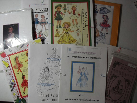 Eight Doll Clothes Patterns, Copies, Betsy McCall,  Miss Revlon, Cissy, Toni.  Saucy Walker Pattern plus Fabric and Trim
