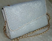 Vintage -  White Armour Enameled Mesh Purse by Bueno