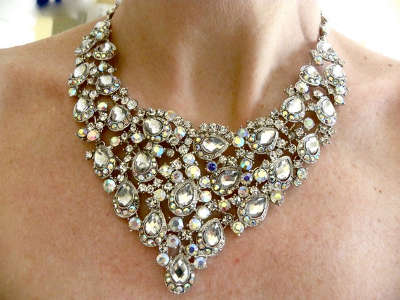 Bridal Statement Necklace, Rhinestone Statement Necklace, Crystal Bridal Necklace with Satin Tie - Choose Your Own Ribbon Color