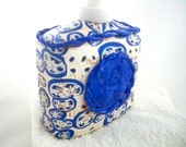 Delft blue soap or lotion dispenser polymer clay blue and white