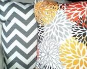 Gray Orange Pillow Covers, Decorative Throw Pillows, Cushions, Grey Orange White Chevron Zig Zag Blooms Home Decor Set of Two Various Sizes