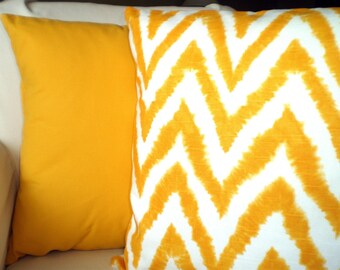 Yellow Pillow Covers, Decorative Throw Pillows, Cushion Covers Corn Yellow White Solid Chevron Couch Bed Sofa, Diva Set of Two Various Sizes