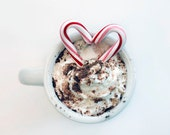 Christmas Photograph, Hot Chocolate, Candy Cane Heart, Food Photography, White, Red, Minimal, Cream, Holiday Home Decor