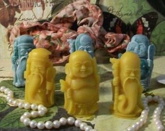 3 Beeswax Buddha Wisemen Candles