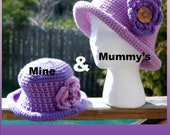 Duo Set of Crocheted 'MineAndMummy' rolled brim hats - orders welcome in different colour choices
