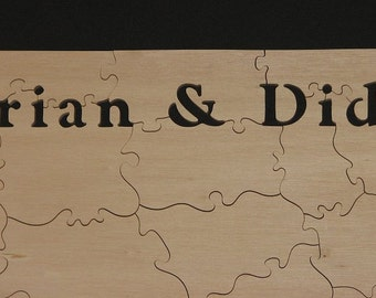 "121-130 pc Alternative Wedding Guest Book Puzzle - Can CUSTOMIZE 18"" X 30"" (Plain Wood) HAND CUT Wooden Jigsaw"