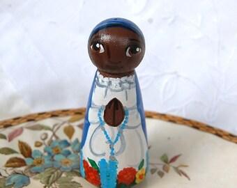 Our Lady of Kibeho Rwanda Africa Catholic Saint Doll - Wooden Pro Life Gift - Made to Order