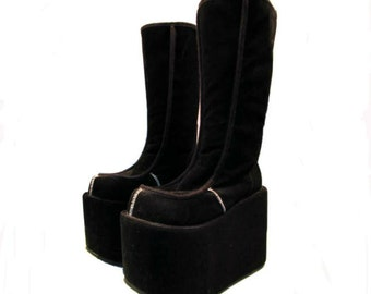 90s Womens Mega Platform Boots Vintage Black Suede Knee High Club Kid Monster Stack Flatform Boots Made in the USA Wms US size 10