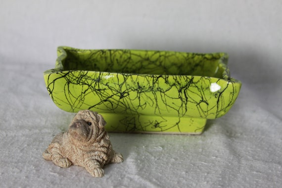 Sweet Vintage Chartreuse Planter scribbled Black Rectangular Retro Spaghetti Drizzle