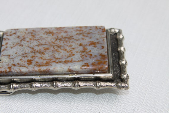 Agate Belt Buckle with a fantastic stone Bamboo metal design frame Vintage find