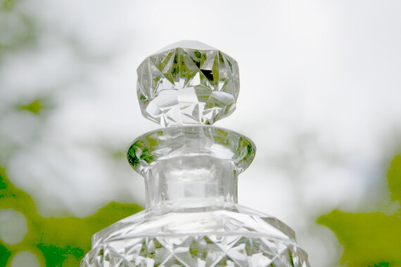 Vintage Lead Crystal Decanter Apothecary Perfume Bottle with quilted Pattern Stopper