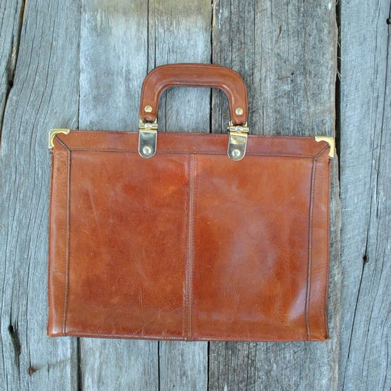 Laptop Bag  //  70s Leather Briefcase  //  ITALIAN MOB