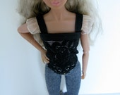 OOAK Ivory and black lace top and stretch jeans for 11 to 12 inch fashion dolls
