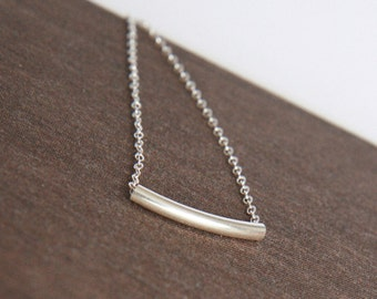 Sterling Silver Necklace,Bar Necklace,Tube,Silver Necklace,Everyday Necklace,Simple Necklace,Gift for Her,Minimal Necklace,Bridesmaid Gift