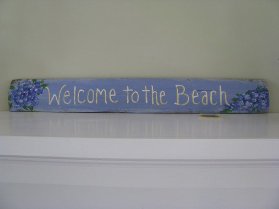 Welcome to the Beach Recycled Wood  Sign OOAK