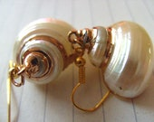 White, pearly, SHELL, earrings, cream and gold, beach, Summer, ocean, sea,by NewellsJewels on etsy