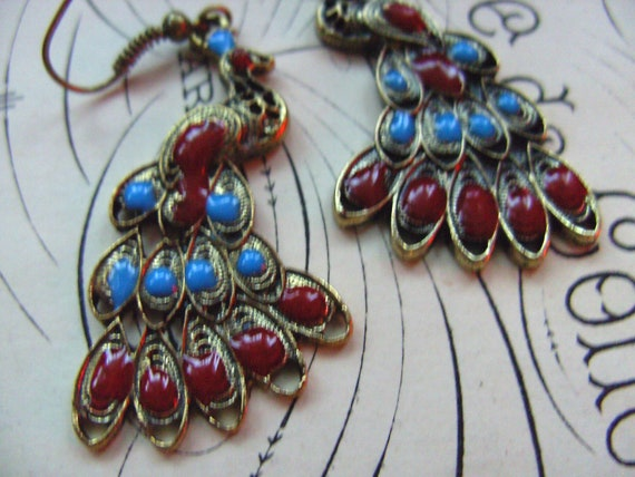 Bohemian style, Peacock , Earrings, blue and red, bronze, by NewellsJewels on etsy