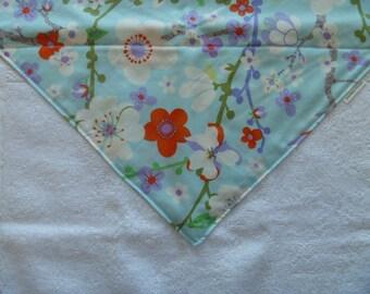 Asian print colorful flowers - Washcloth Bib - Bandana Bib