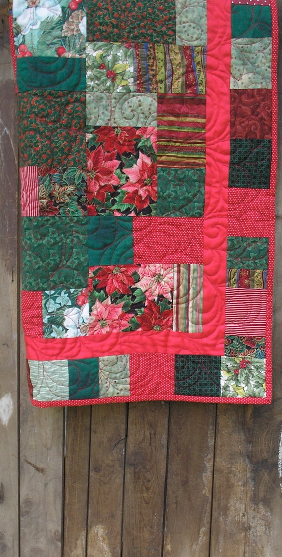 Christmas Quilt - Red and Green Patchwork Lap Size