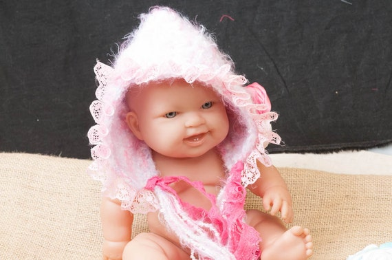Newborn baby flower clip Victorian bonnet.. photo prop .... Ribbons and Roses