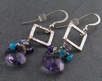 Amethyst earrings with apatite and grey pearls, KYRA handmade designer silver jewelry