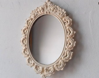 Small Oval Mirror in Ornate Vintage White Metal Frame, Shabby Chic Mirror, French Country, Cottage Chic, Paris Chic Home Wall Decor