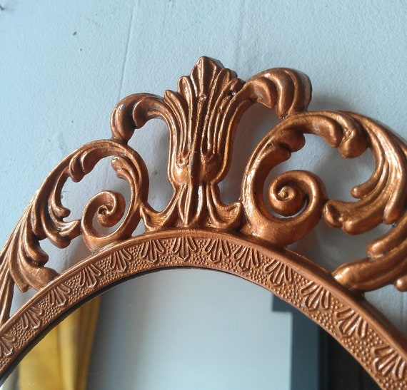 Fairy Princess Mirror - Ornate Vintage Frame in Copper Penny - 13 by 10 inches