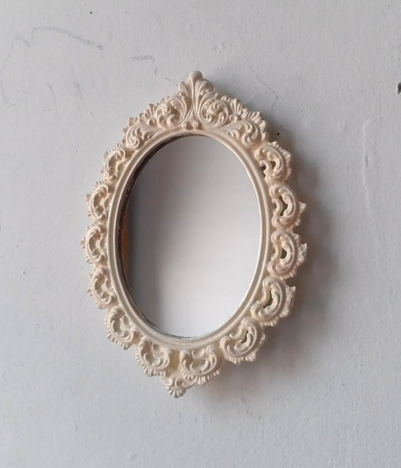 Small wall mirror in vintage white metal filigree frame for Small wall mirrors