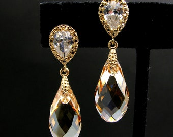 wedding bridal Golden teardrop cubic post earrings with golden shadow swarovski crystal - Free US shipping