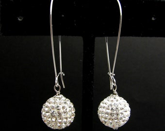 STERLING SILVER-Swarovski clear white crystal rhinestone ball drop with white gold silver hoop - Free US shipping