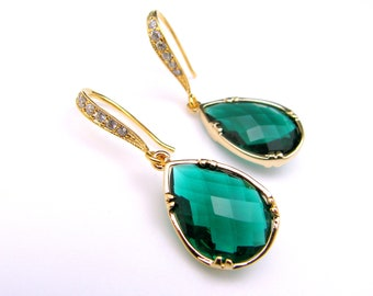 Christmas bridal wedding prom party emerald green glass quartz drop gold earrings