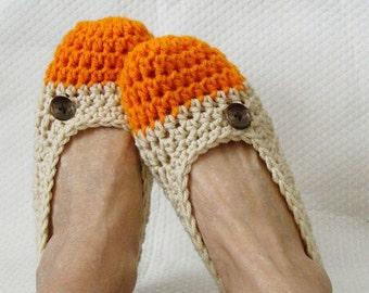 Crochet Slippers Womens Flats Orange Sherbert
