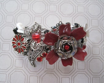 Red and Black Hair Barrette