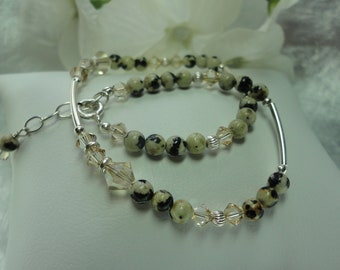 Dalmation Jasper, Crystal, and Sterling Silver Anklet with extender chain
