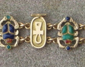 Dress Me  Up Great 18K Gold Enamel  Vintage Egyptian Bracelet Estate