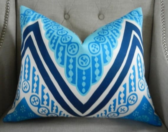 "Decorative Designer Lumbar Pillow Cover - 14""X18"" - Trina Turk for Schumacher - Indoor/outdoor - Tangier Frame Print in Ocean"