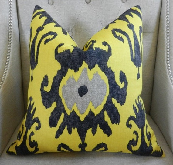 "Decorative Designer  Pillow Cover - 20""X20 ""- Vervain - Tondonia Ikat print in sunflower - Pattern on the front"