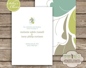 Wedding Ceremony Program: Hue Garden / 100% recycled paper, close to nature, half-fold, soft and elegant, rustic charm / DEPOSIT