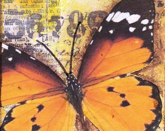 Mixed media / collage ACEO - Orange Butterfly
