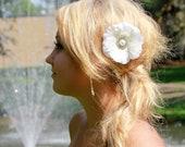 Bridal Fascinator -Ivory satin  flower hair fascinator, Pearl Rhinestone, SHIP READY