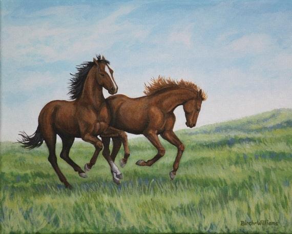 Horse Art Print - Horses Galloping Landscape - 8x10 Giclee Fine Art Animal Print