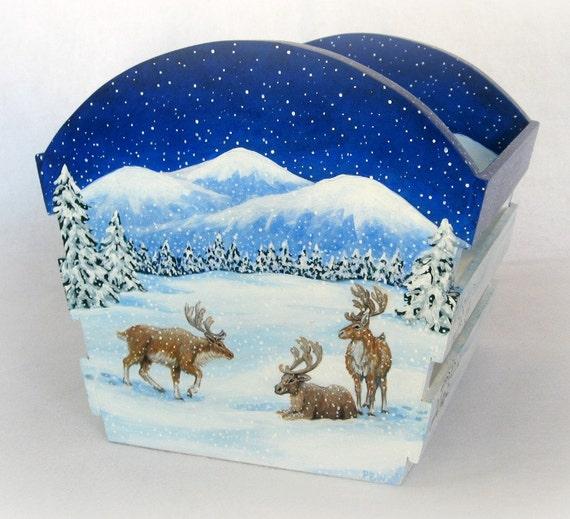 Winter Holiday Christmas Decoration Gift Basket Handmade Hand Painted Reindeer Santa Sleigh