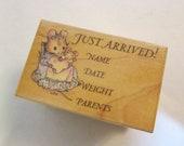 SALE - rubber stamp - JUST ARRIVED, newborn, baby, Beatrix Potter mouse