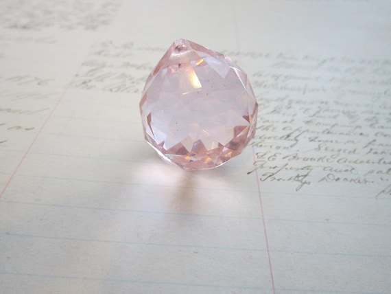 vintage prism - PINK - faceted, orb, chandelier crystal, ball