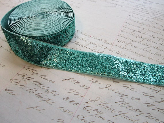"SALE - 1.75 yards metallic AQUA ribbon - 7/8"" wide - mermaid"